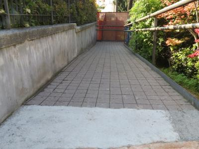 Ruined self-locking and cement paving before treatment