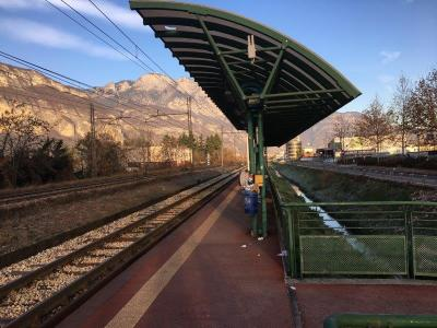 Frozen railway platform – Trento North station